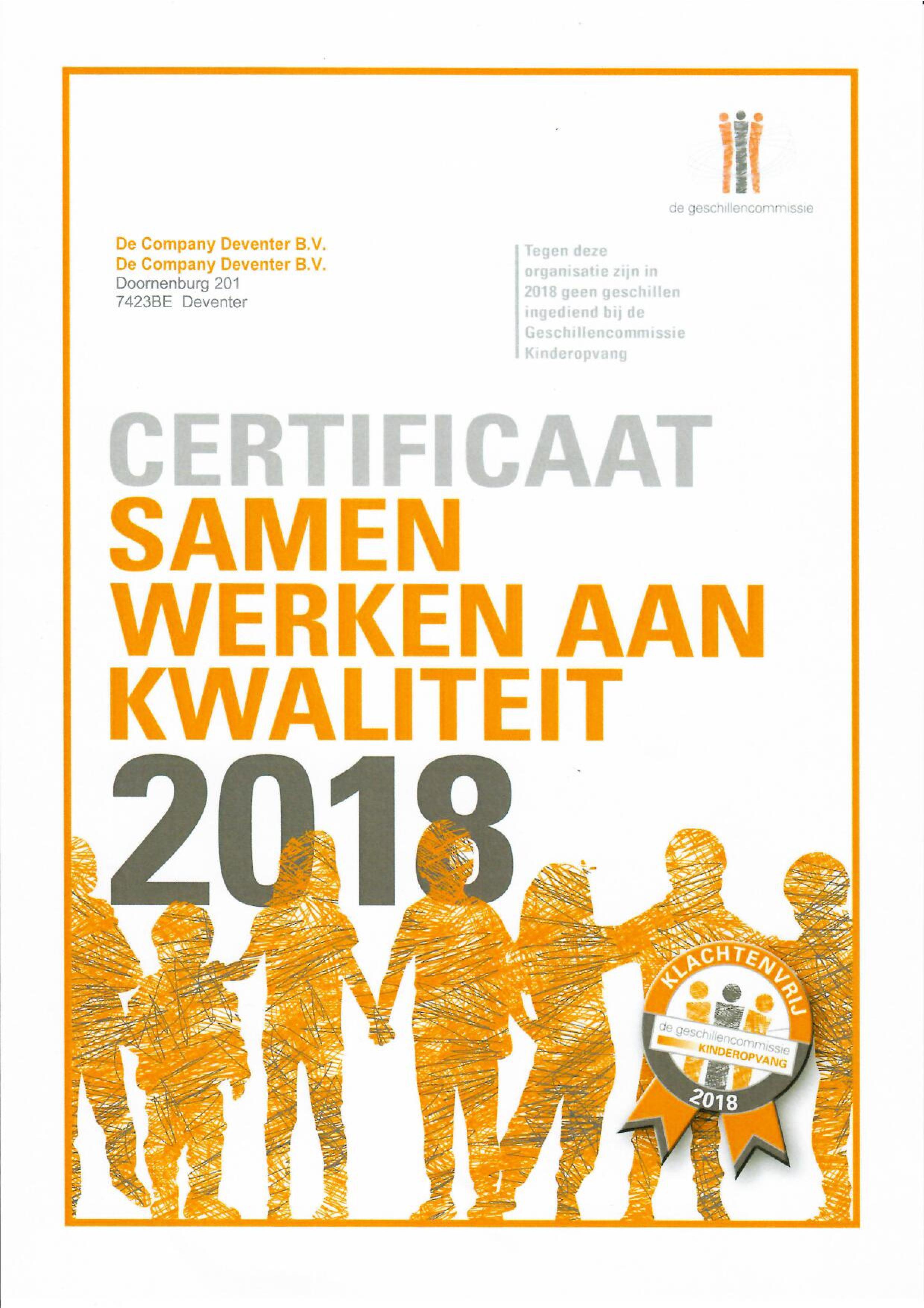 Kwaliteitscertificaat 2018